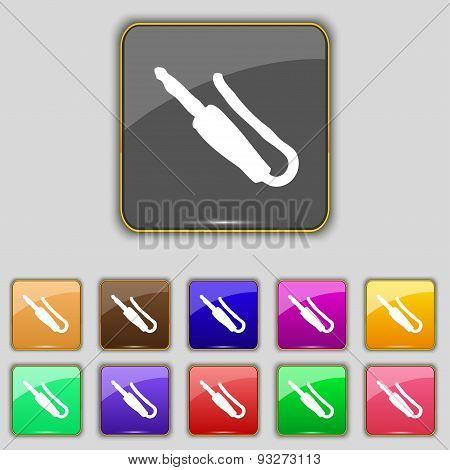 Plug, Mini Jack Icon Sign. Set With Eleven Colored Buttons For Your Site. Vector