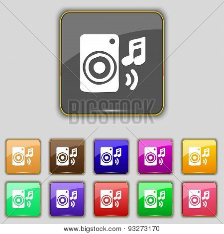 Music Column, Disco, Music, Melody, Speaker Icon Sign. Set With Eleven Colored Buttons For Your Site