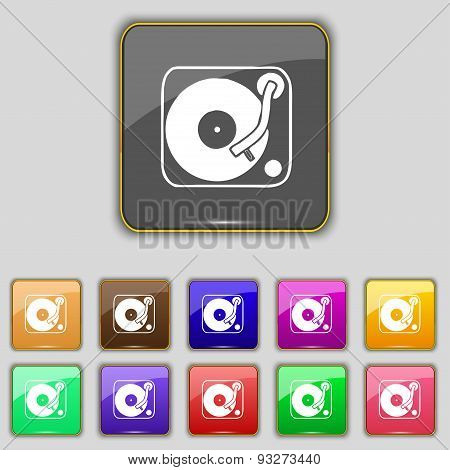Gramophone, Vinyl Icon Sign. Set With Eleven Colored Buttons For Your Site. Vector