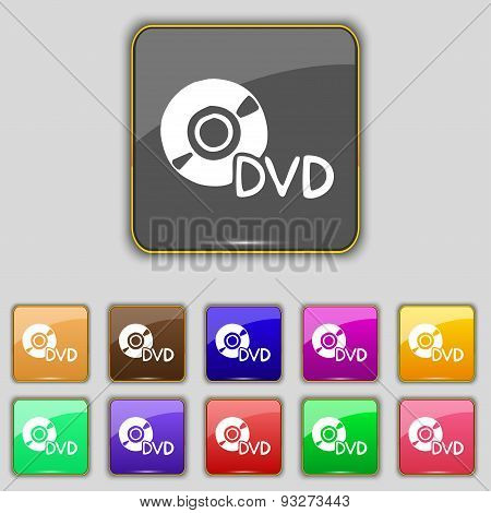 Dvd Icon Sign. Set With Eleven Colored Buttons For Your Site. Vector