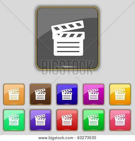 Cinema Clapper Icon Sign. Set With Eleven Colored Buttons For Your Site. Vector