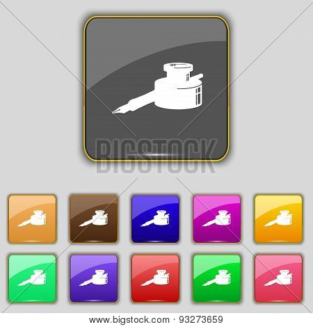 Pen And Ink Icon Sign. Set With Eleven Colored Buttons For Your Site. Vector