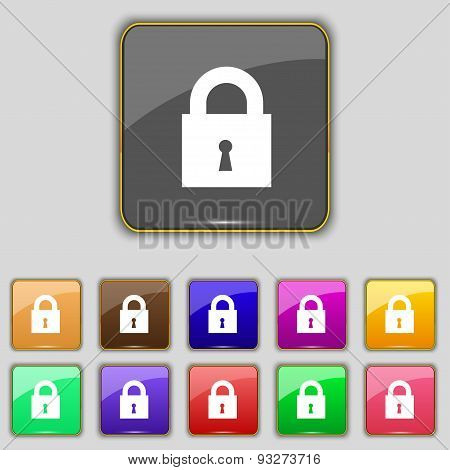 Closed Lock Icon Sign. Set With Eleven Colored Buttons For Your Site. Vector