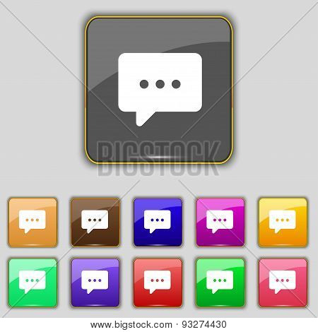 Cloud Of Thoughts Icon Sign. Set With Eleven Colored Buttons For Your Site. Vector