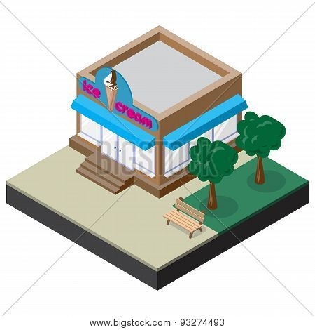 Isometric ice cream shop with bench and trees