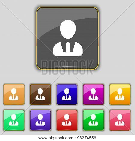 Male Silhouette Icon Sign. Set With Eleven Colored Buttons For Your Site. Vector