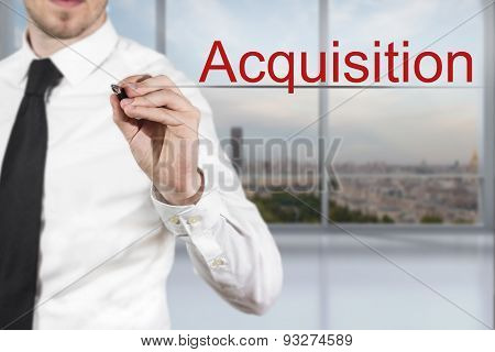 Businessman Writing Accquisition In The Air