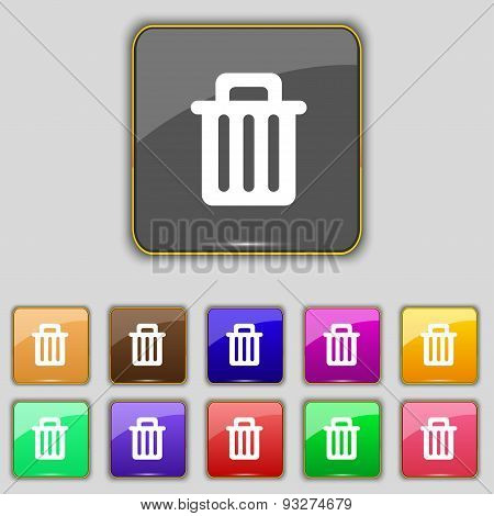 Recycle Bin Icon Sign. Set With Eleven Colored Buttons For Your Site. Vector