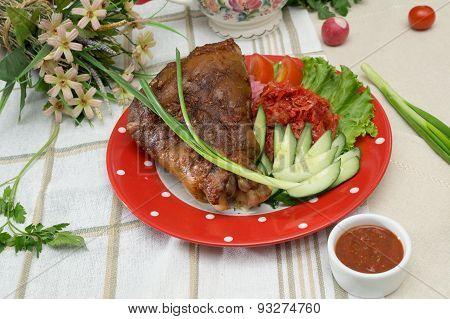 roasted Pork Knuckle With Vegetables