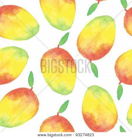 Watercolor mango seamless pattern