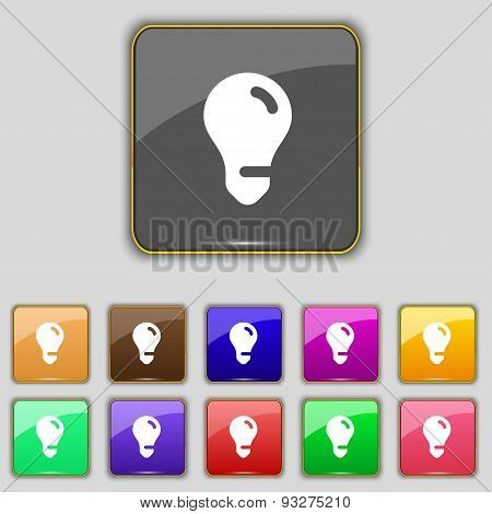 Light Bulb, Idea Icon Sign. Set With Eleven Colored Buttons For Your Site. Vector