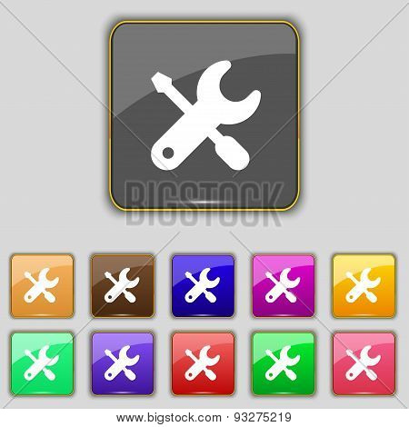 Screwdriver, Key, Settings Icon Sign. Set With Eleven Colored Buttons For Your Site. Vector