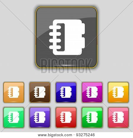 Notepad, Calendar Icon Sign. Set With Eleven Colored Buttons For Your Site. Vector