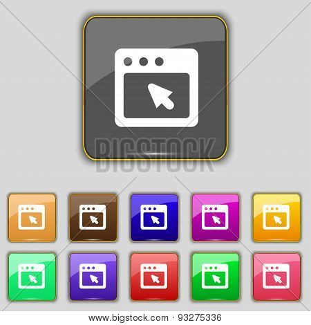 The Dialog Box Icon Sign. Set With Eleven Colored Buttons For Your Site. Vector