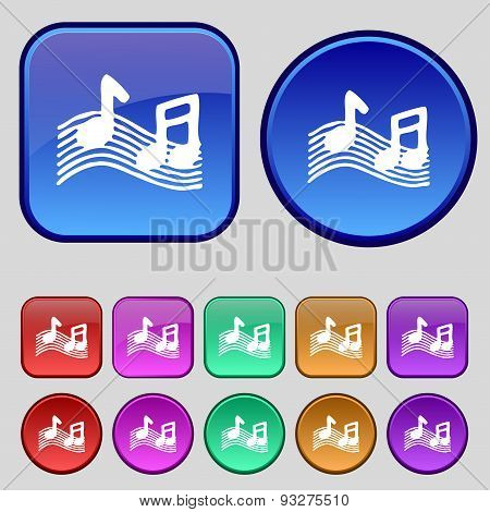 Musical Note, Music, Ringtone Icon Sign. A Set Of Twelve Vintage Buttons For Your Design. Vector