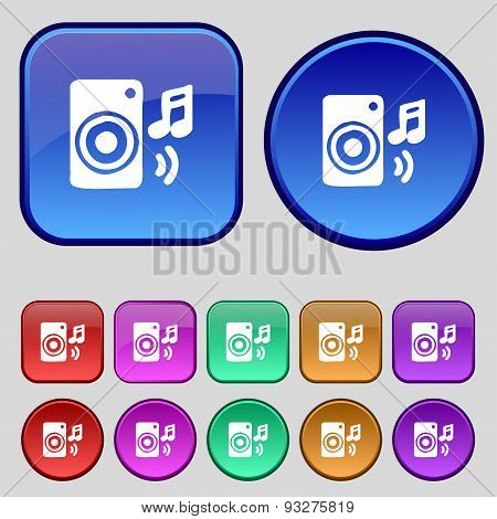Music Column, Disco, Music, Melody, Speaker Icon Sign. A Set Of Twelve Vintage Buttons For Your Desi
