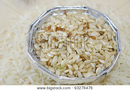 Rice In An Aluminum Bowl