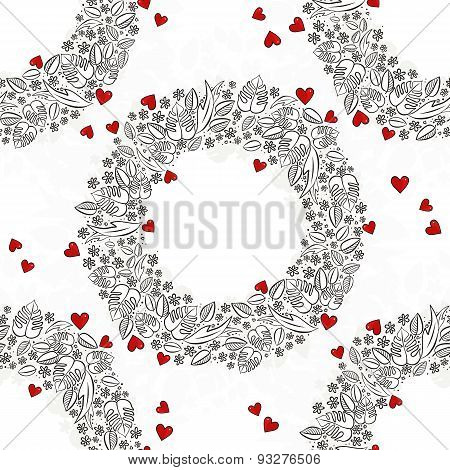 secret garden wreath with red hearts seamless pattern on white