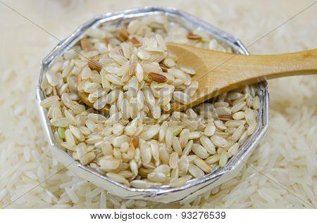 Rice In An Aluminum Bowl With A Wooden Spoon