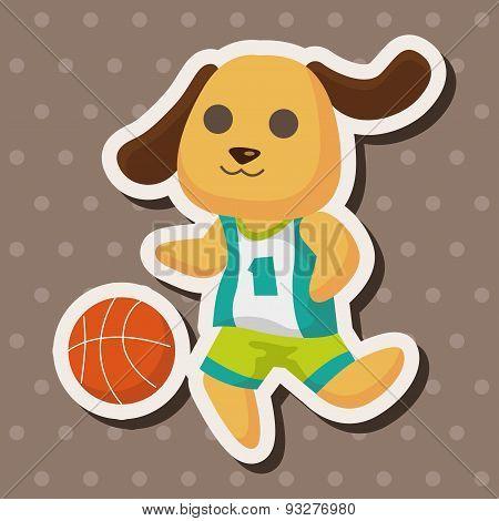 Animal Dog Doing Sports Cartoon Theme Elements