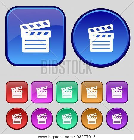 Cinema Clapper Icon Sign. A Set Of Twelve Vintage Buttons For Your Design. Vector
