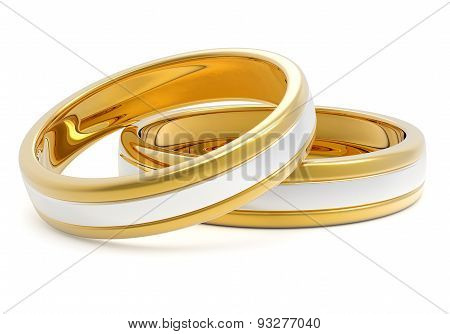Pair of Golden Platinum Wedding Rings Isolated on White Background