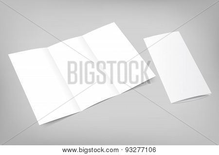 Vector blank tri fold flyer with cover on gray background