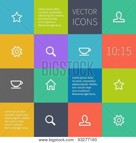 colour square infographics with icons