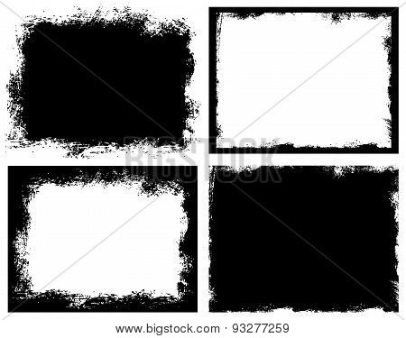 Set of grunge background. Broken dirty rough frames.