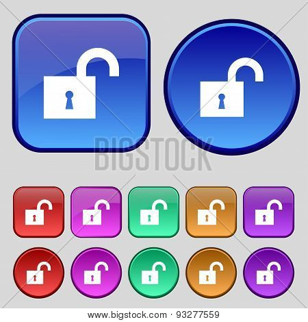 Open Lock Icon Sign. A Set Of Twelve Vintage Buttons For Your Design. Vector