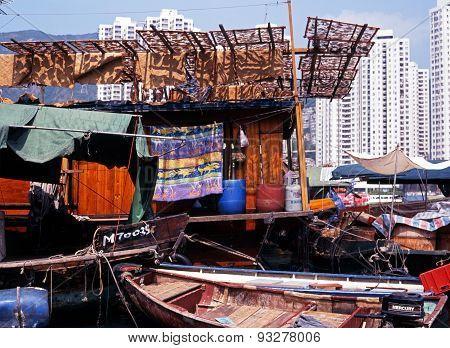 Houseboat in Arberdeen Harbour, Hong Kong.