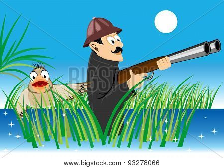 hunter with a gun and duck