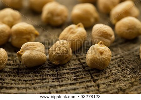 Bunch Of Chickpeas On The Old Wooden Background. Indian Cuisine