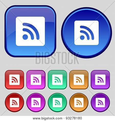 Rss Feed  Icon Sign. A Set Of Twelve Vintage Buttons For Your Design. Vector