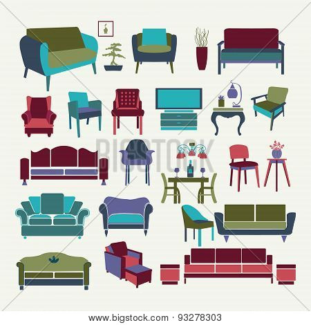 Vector Collection  Of Icons Set Interior  Design Elements.