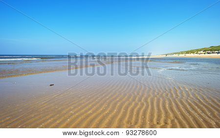Beach along the North Sea in spring