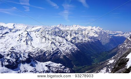 Landscape Of Titlis Snow Mountains Valley
