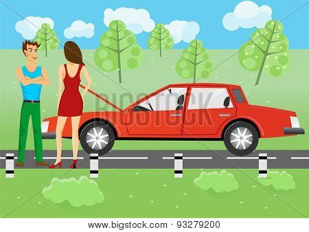 man and woman standing near a car