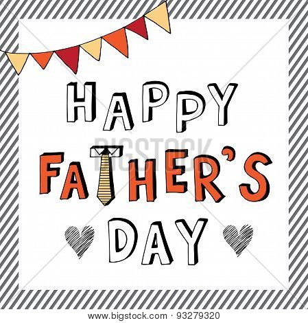 Happy Father Day Doodle Stripe Frame