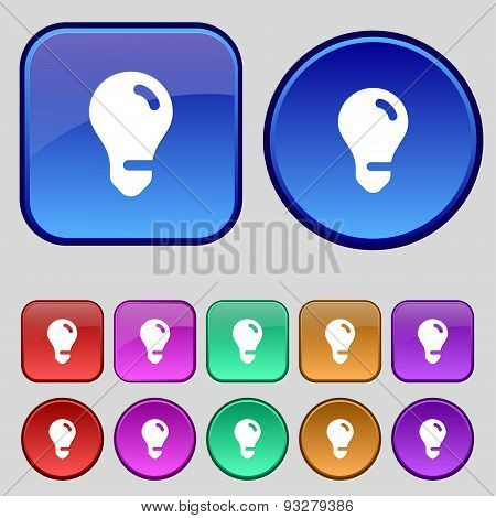 Light Bulb, Idea Icon Sign. A Set Of Twelve Vintage Buttons For Your Design. Vector