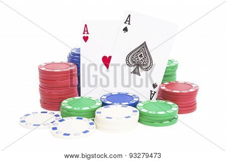 Two Aces And Lots Of Poker Chips On White With Clipping Path