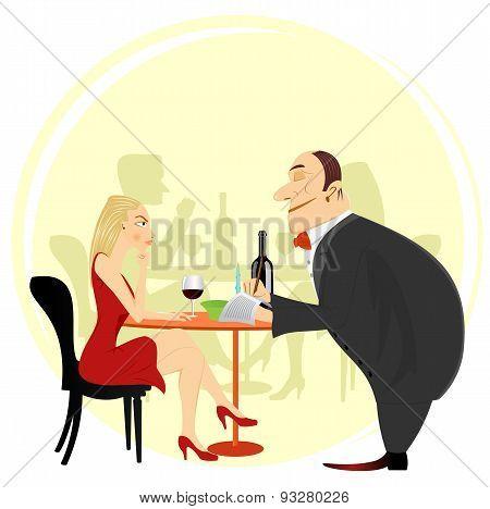 obliging waiter taking order