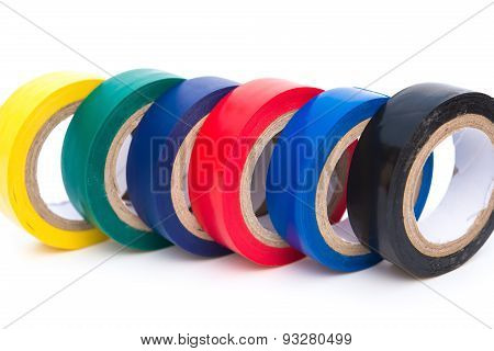 Different Color Electrical Tapes On White Background