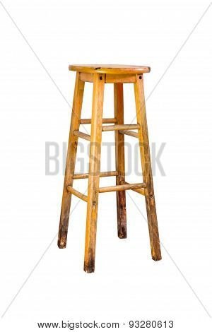 Single Chair Design With Wood On White Isolate Background.