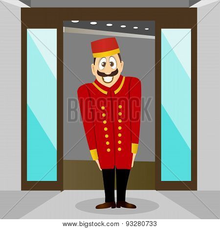 smiling bellhop with mustache