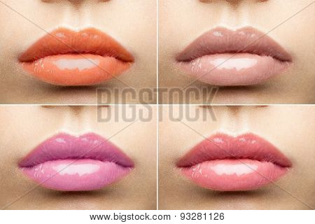 Beautiful Glossy Lips Nude Collection Close-up