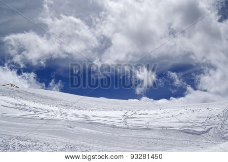 Ski Slope In Sun Wind Day