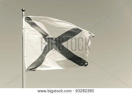 Flag Beige Tone With Dark Cross Flies On A Wind
