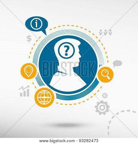 Question Mark Icon And Male Avatar Profile Picture