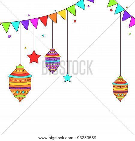 Ramadan themed buntings and lamps